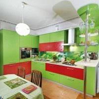пример применения зеленого цвета в красивом интерьере комнаты фото