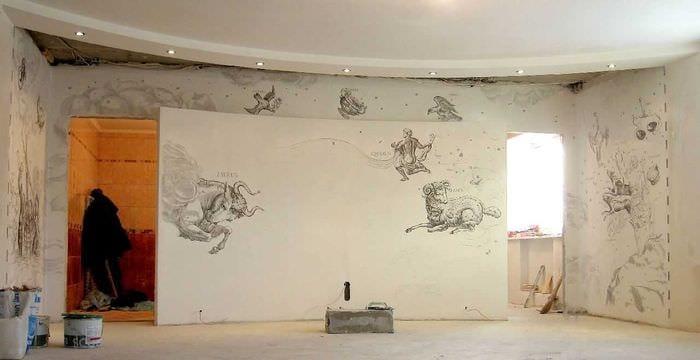 идея красивого декора дома с росписью стен