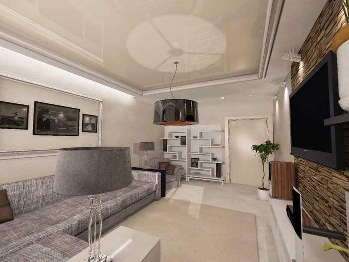 идея красивого декора гостиной спальни 20 кв.м.