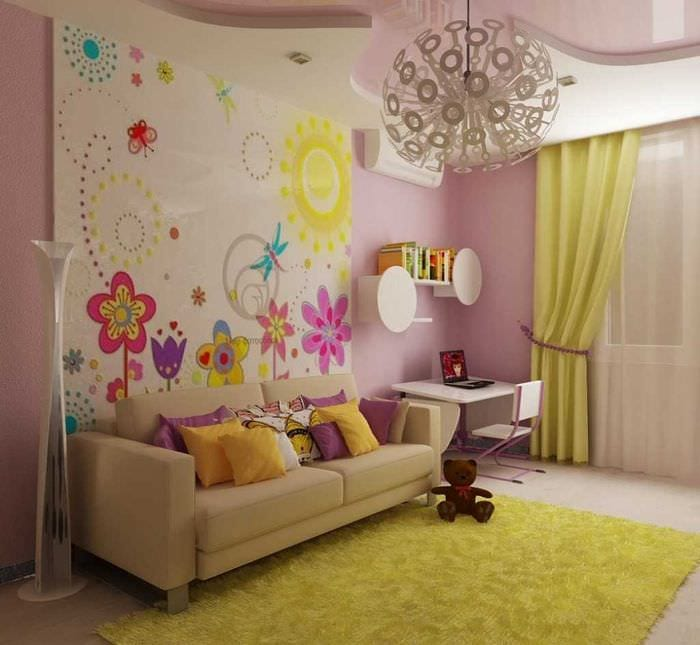 вариант яркого интерьера детской комнаты для девочки 12 кв.м