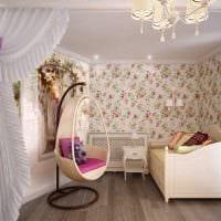 вариант необычного декора спальной комнаты для девочки в современном стиле картинка