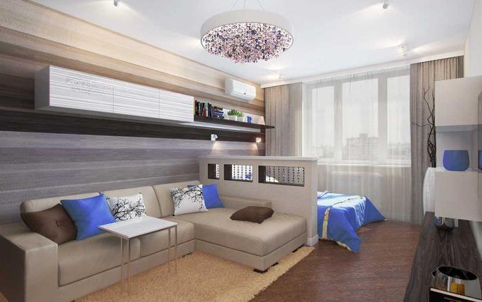 вариант яркого интерьера спальни гостиной 20 кв.м.
