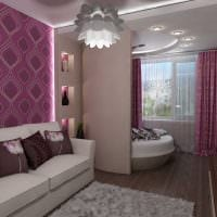 вариант яркого дизайна спальной комнаты 18 кв.м. картинка