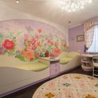 вариант красивого дизайна детской комнаты для двоих девочек фото