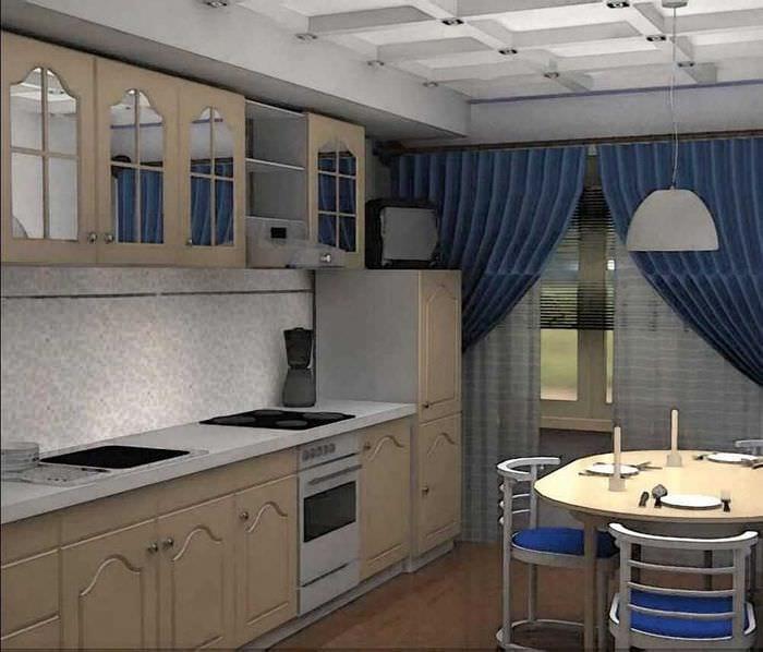 вариант яркого дизайна кухни 9 кв.м