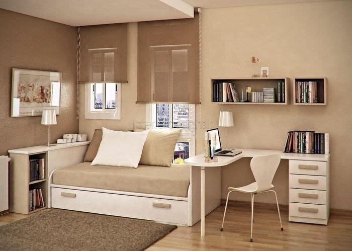 идея красивого дизайна небольшой комнаты в общежитии