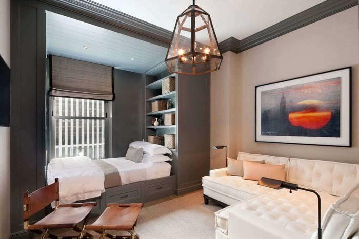 идея необычного дизайна гостиной спальни