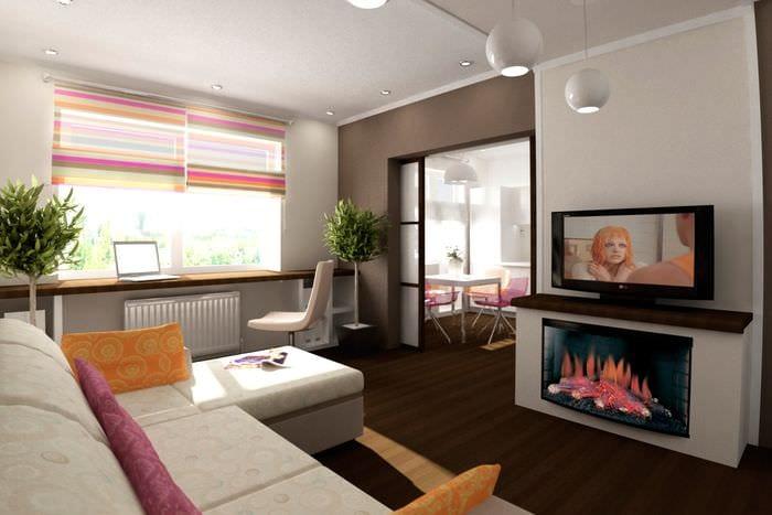 идея необычного дизайна двухкомнатной квартиры в хрущевке