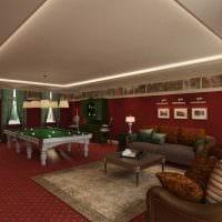 идея светлого декора бильярдной комнаты картинка