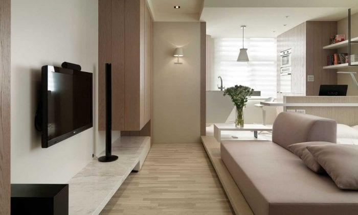 вариант светлого декора двухкомнатной квартиры в хрущевке