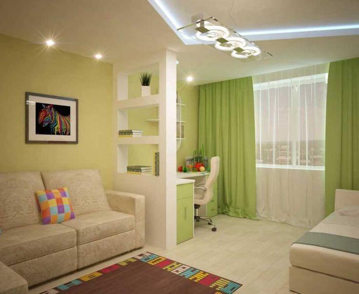 идея необычного стиля гостиной спальни 20 кв.м.