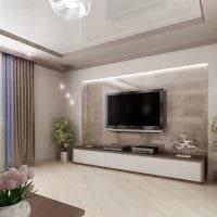 вариант необычного дизайна гостиной в частном доме картинка