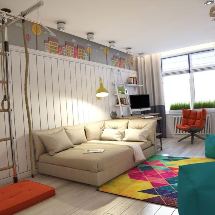 идея светлого декора спальной комнаты для девочки в современном стиле