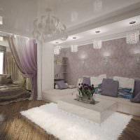 вариант необычного интерьера гостиной спальни 20 кв.м. картинка