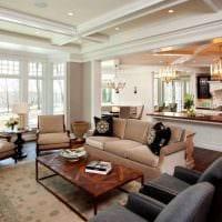 идея красивого интерьера зала в частном доме фото