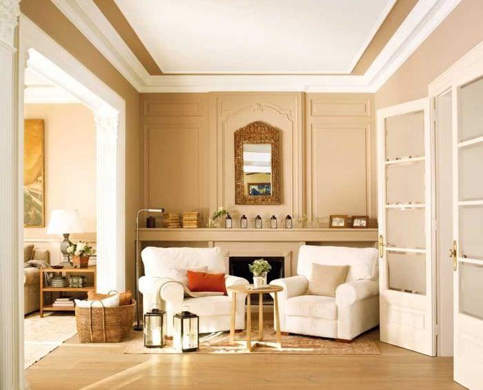 идея необычного бежевого цвета в интерьере комнаты