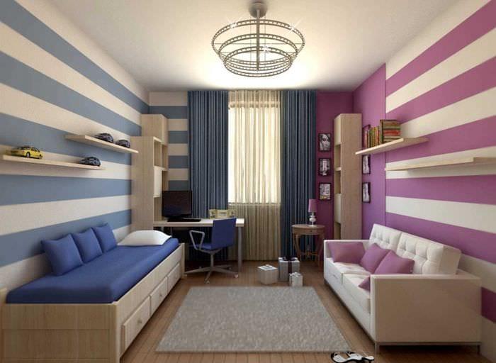вариант необычного стиля детской комнаты для девочки 12 кв.м
