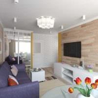 идея светлого интерьера двухкомнатной квартиры в хрущевке фото