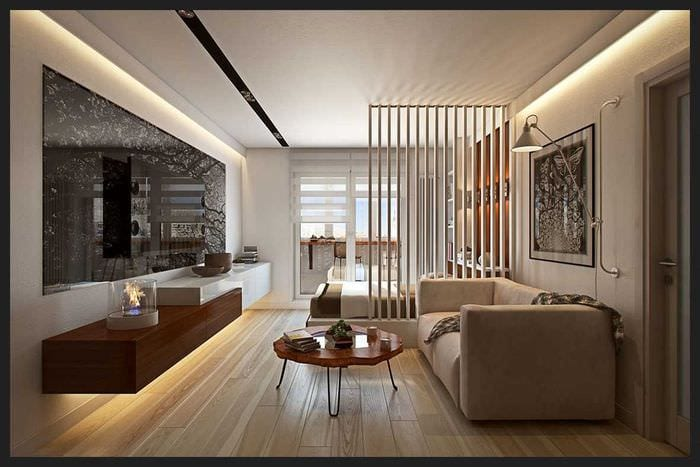 вариант яркого дизайна маленькой комнаты
