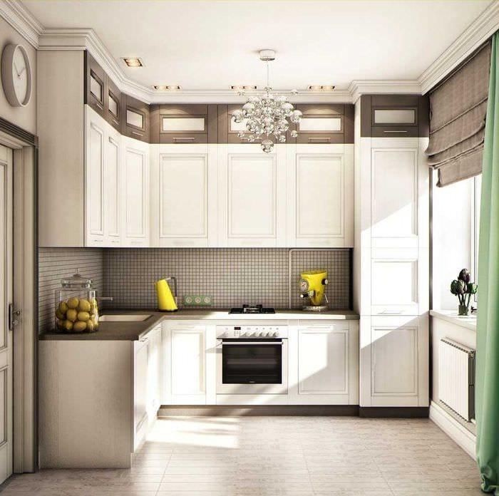 вариант необычного стиля кухни 8 кв.м