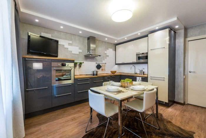 идея светлого декора кухни 9 кв.м