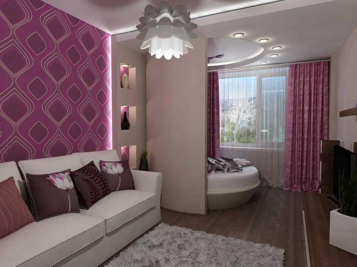 вариант яркого интерьера спальни гостиной
