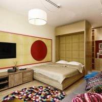 вариант светлого дизайна спальни гостиной фото