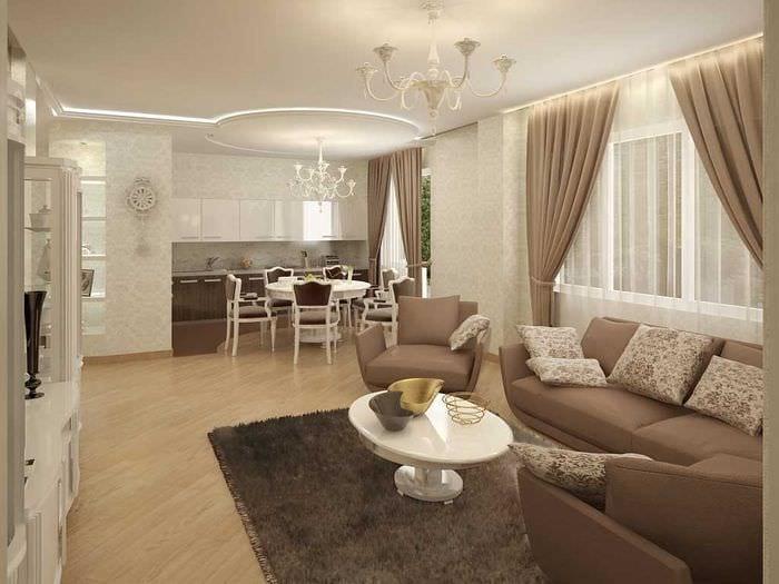 вариант светлого интерьера гостиной в частном доме