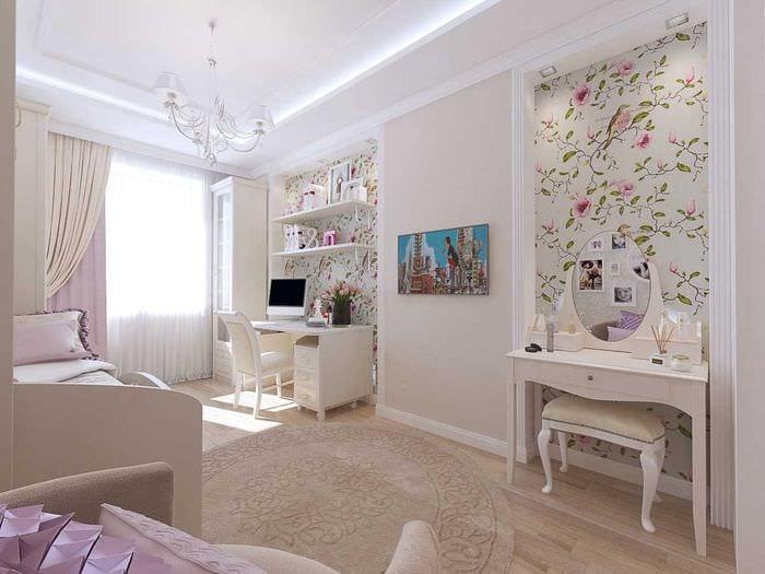 вариант светлого стиля спальной комнаты для девочки в современном стиле
