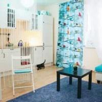 идея светлого интерьера гостиной комнаты 18 кв.м. картинка