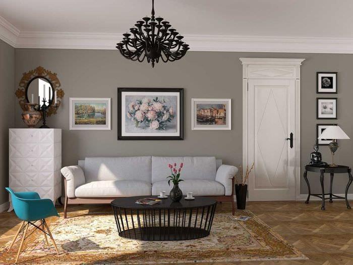 вариант яркого стиля комнаты в советском стиле