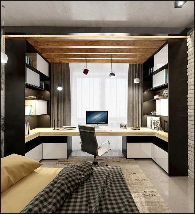 вариант светлого стиля спальной комнаты для молодого человека