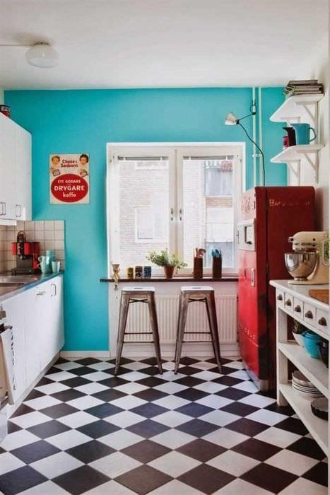 пример использования яркого декора комнаты в стиле ретро