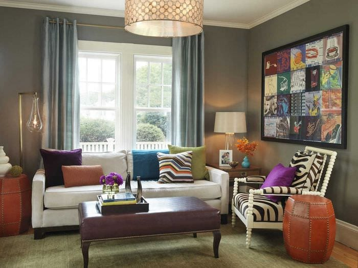 пример применения светлого дизайна комнаты в стиле ретро