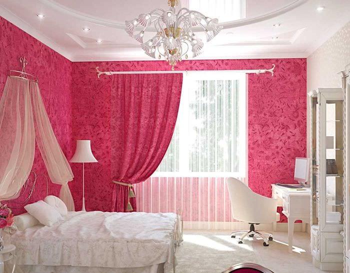 идея применения розового цвета в необычном интерьере комнате