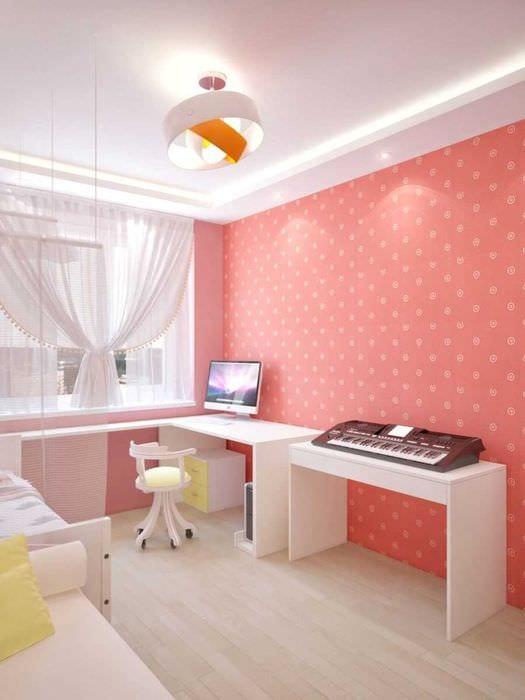 вариант применения розового цвета в красивом интерьере комнате