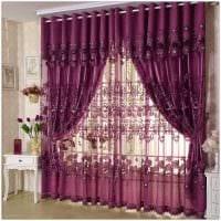 вариант применения современных штор в красивом интерьере комнате картинка