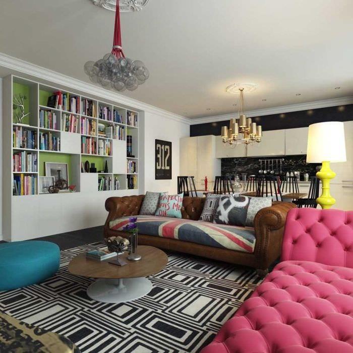 идея применения красивого интерьера комнаты в стиле ретро