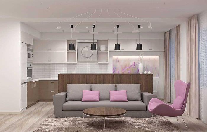 вариант использования светового дизайна в красивом стиле квартиры