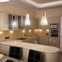 пример применения светлого дизайна кухни фото