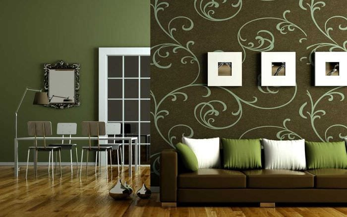 идея применения зеленого цвета в светлом декоре комнаты