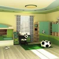 идея применения зеленого цвета в светлом интерьере комнаты фото