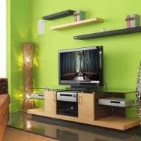 пример использования зеленого цвета в необычном декоре комнаты картинка