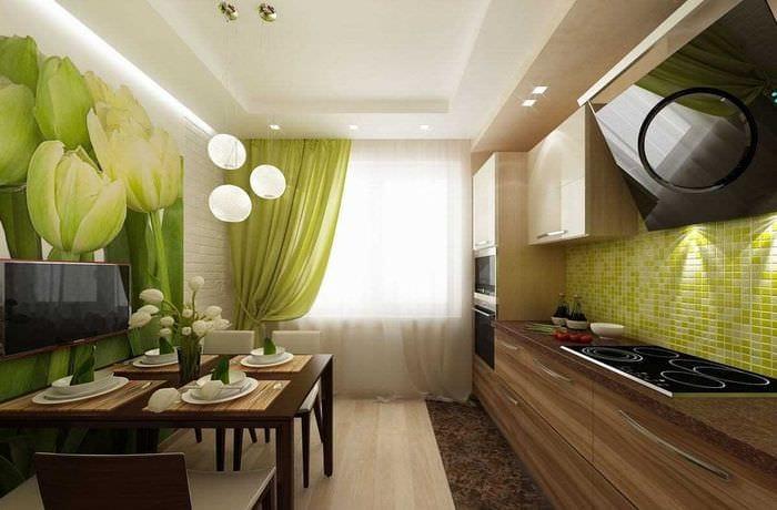 вариант использования зеленого цвета в необычном декоре квартиры