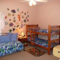 пример светлого декора детской комнаты для двоих детей фото