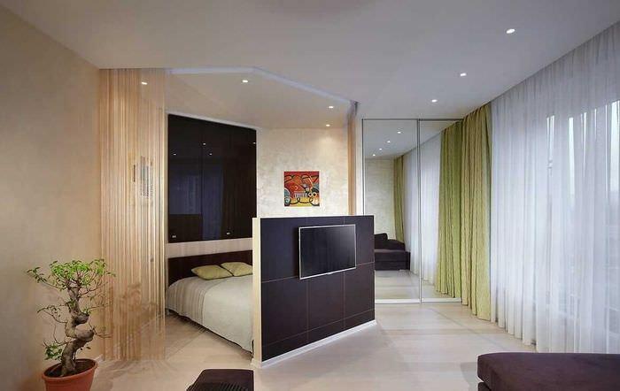 вариант необычного интерьера гостиной спальни 20 кв.м.