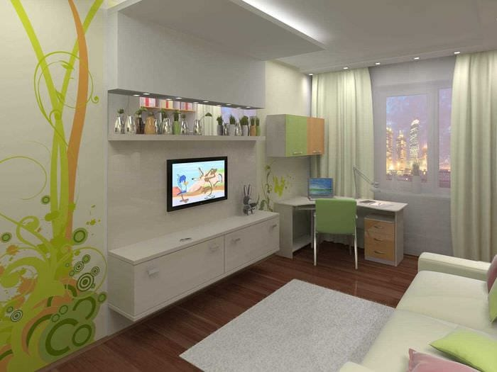 вариант красивого дизайна комнаты для девочки 12 кв.м