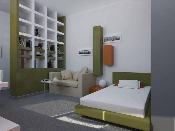 вариант яркого интерьера маленькой комнаты в общежитии