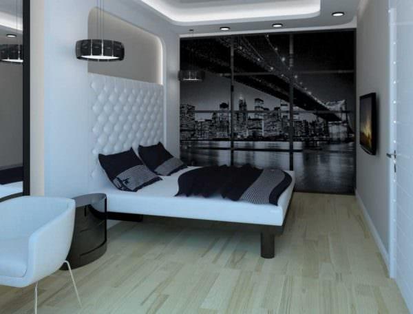 вариант яркого декора спальни для молодого человека фото