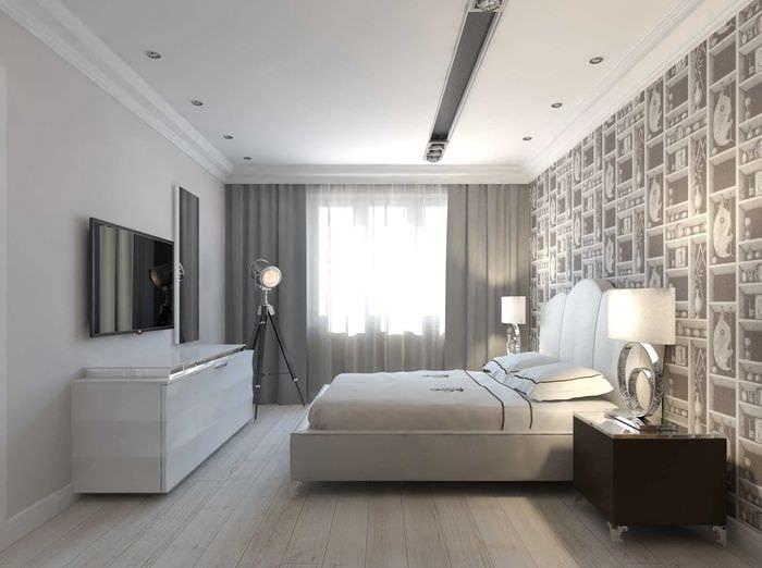 вариант необычного интерьера спальной комнаты 18 кв.м.